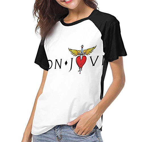 JEWold Bon Logo Jovi Manga Corta de béisbol para Mujer Camisetas raglán Negras Camisetas para Mujeres