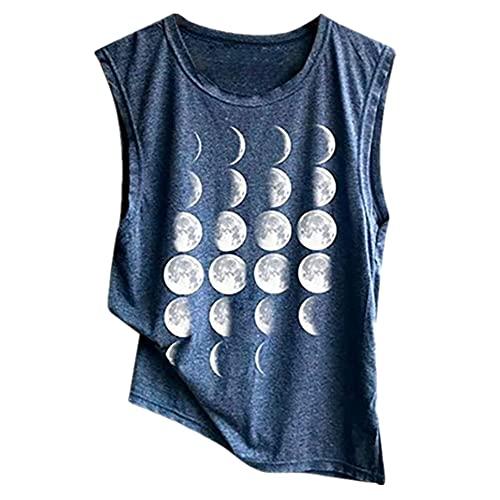 Camiseta Sin Mangas Mujer Verano Suelta Cómoda Sin Mangas Cuello Redondo Top Gradiente Luna Estampado Elegante Chic Sexy Deporte Ocio Mujeres Tops C-Blue 3XL