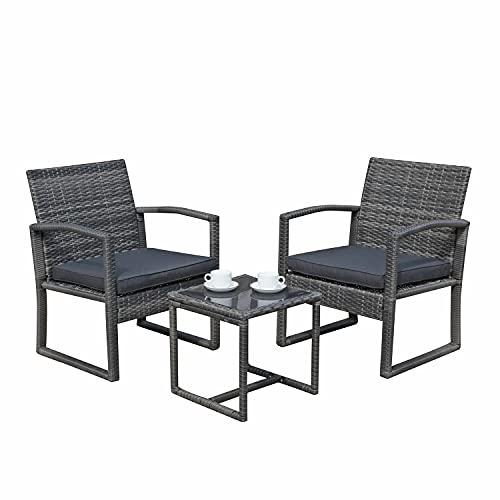 SUNDO Balkonset aus PolyRattan, Balkonmöbel Set mit Sitzkissen, Gartenset mit Sessel & Tisch, Sitzgruppe für 2 Personen, Rattanset (Dunkelgrau)