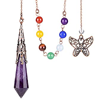 Bivei Pendulum Crystal Natural Amethyst Gemstone for Dowsing Divination Chakra Reiki Pointed with Chakra Chain and Butterfly