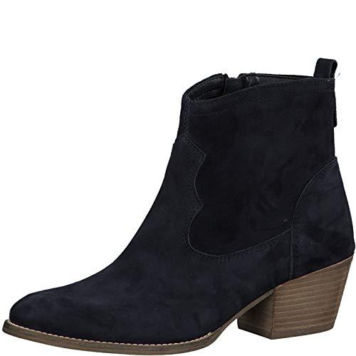 Tamaris Damen Stiefel 25700-34, Frauen Cowboy Stiefel, leger Boots Stiefelette lederstiefel Western-Stiefel reißverschluss,Navy,38 EU / 5 UK