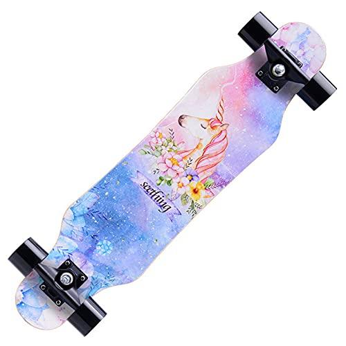 VOMI Longboard Niños Principiantes, Skateboard Freeride Dancing, Arce de 7 Capas, 80cm Patineta Completa Drop-Through Skate Cruiser Boards