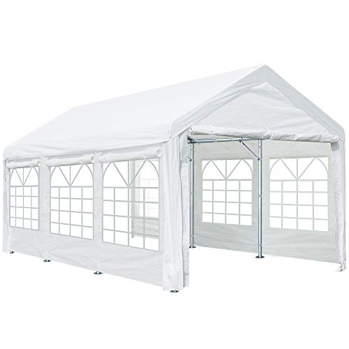ADVANCE OUTDOOR 10x20 ft Heavy Duty Carport Car Canopy Garage Shelter Party Wedding Boat Tent, Adjustable Height from 6.5ft to 8.0ft with Removable Window Sidewalls, White