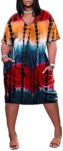 Dekolt w szpic, batik, kieszonkowa sukienka midi w rozmiarze plus dla kobiet, maxi plus size, letnie sukienki przeciwsłoneczne sukienka ciążowa, pomarańczowa_3XL