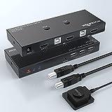 Switch KVM HDMI Rocketek Box a 2 porte, 2 computer condividono 1 monitor, 3 hub USB 2.0 per stampante mouse e tastiera, supporto UHD 4K@60Hz (con cavo USB × 2, cavo interruttore remoto × 1)