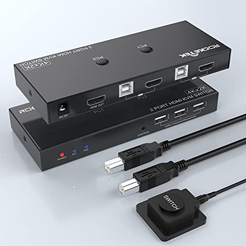 Rocketek HDMI KVM-Switch 2-Port-Box, 2 Computer teilen sich 1 Monitor, 3 USB 2.0-Hub für Maus-Tastaturdrucker, unterstützen UHD 4K bei 60 Hz, 3 Switch-Modi (mit USB-Kabel × 2, Remote-Switch-Kabel × 1)