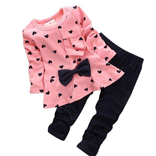 QinMM Kleinkind SäUglingsbaby MäDchen Kleidungs Satz, Neugeborene Baby SäTze HerzföRmig Druck Fliege Nette 2PCS Scherzt Gesetzte Lange HüLsen T-Shirt + Hosen (0-3M, Rosa)