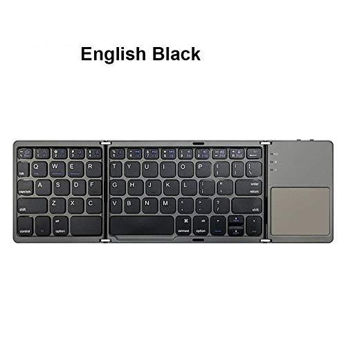 Yqs Teclado Mini Teclado Bluetooth Teclado Plegable Plegable inalámbrico con touchpad (Color : B033 Russian Black)