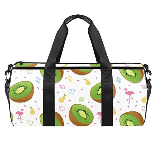 LAZEN Schulter Handy Sports Gym Taschen Travel Duffle Totes Tasche für Männer Frauen Sommer Obst Kiwi Flamingo Birne