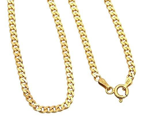 Panzerkette ECHT 925 Sterling Silber vergoldet 3mm breit Länge wählbar 45 50 55 60 cm Silberkette Halskette Kette Damen (55)