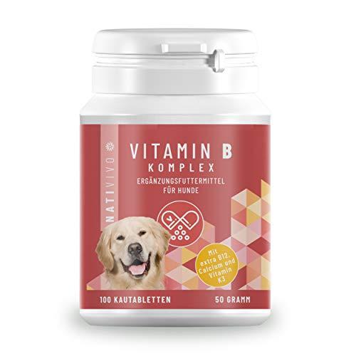 NatiVivo® Vitamin B Komplex für Hunde - 100 Tabletten - extra B12, K3 & Calcium - Vitamine für Hunde