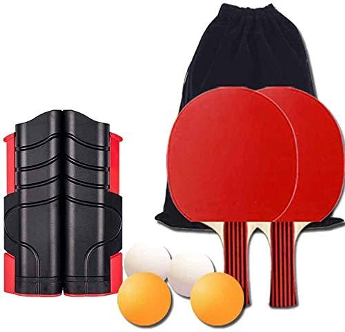 Sets de ping pong Mesa de ping pong Juegos de almacenamiento portátil de la caja completa Mesa de ping pong Mesa de ping pong con Set Trainer retráctil Mesa de ping pong Nets Pack de 2 murciélagos, 4