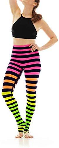 Bravoy ouders moeder en Dochter gekleurde strepen yogabroeken regenboog leggings Sport Tights Stretch Hoogelastische trainingsbroek (moeder, S)