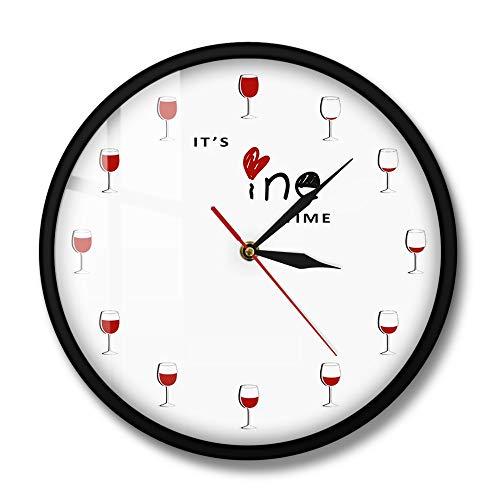 Fryymq (12 Zoll mit LED) mit Rahmen Acryldruck Weinzeit Wanduhr Weinglasdekoration Rotweinuhr Weinuhr Restaurant Wein Gastliebhaber Geschenk