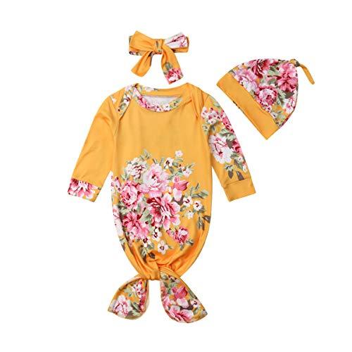 Glücklicher Käufer Glücklicher Käufer Baby Floral Print Pyjamas, Neugeboren Qualifiziert Baumwolle Babystrampler Overall +Stirnband +Cap Kleidung Outfit Set 3 PC (Gelb Drucken, 6-12 M)