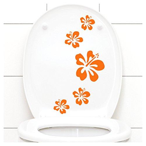 Grandora Klodeckel Aufkleber Hibiskusblüten I orange 5er Kreativset I Bad Blüten Blumen Hibiskus Aufkleber Wandaufkleber Wandsticker W916