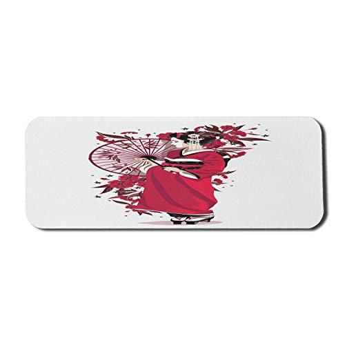 Japanisches Computer-Mauspad, Dame in Kimono-Blumen und Regenschirm traditioneller Kleidungskunst, Rechteck-rutschfestes Gummi-Mousepad großes rosa Fuchsia-Weiß