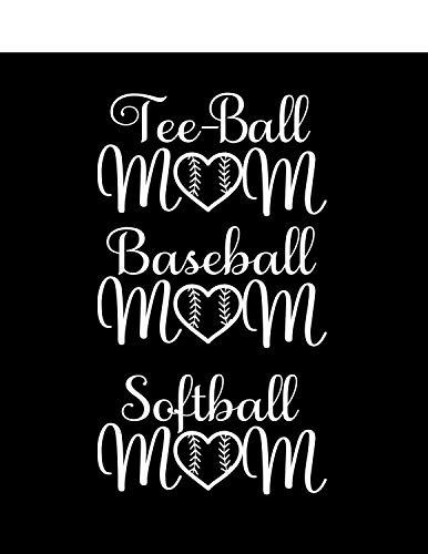 CELYCASY Baseball Mom, Softball Mom. Tee-Ball Mom, Tee-Ball Maw Auto Fenster, Schoß Top Aufkleber, Sport-Aufkleber, Auto Aufkleber, Mama Aufkleber