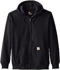 Carhartt Men's Big & Tall Rain Defender Paxton Heavyweight Hooded Zip Front Sweatshirt,Black,XXX-Large Tall