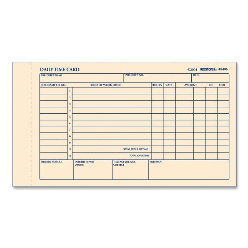 REDIFORM Time Card Pad, Daily, 2-Sided, Manila, 4.25