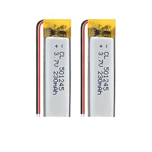 2 unids 3.7 V V 501245 230 mAh batería de polímero de litio, para Walkie Talkie auriculares de respaldo Power linterna bicicleta luz ratón inalámbrico