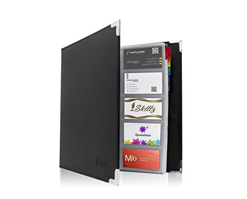 Skittz Business Card Book Coupon Leather Organizer Binder W/Sleeves 600 Storage Capacity