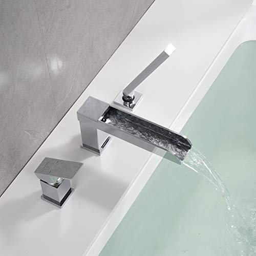 Wowkk Waterfall Roman Tub Faucets Deck Mount Chrome Bathtub Faucets Brass Tub Filler Bathroom Faucets with Hand Shower