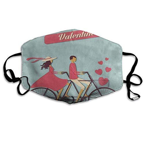 Be My Valentine Bike Heart Love Unique Dust Mouth Mask Reusable Anti-Dust Face Mask Adjustable Earloop Skin Protection