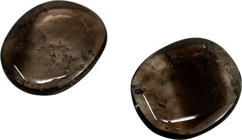 2 Stück Rauchquarz Taschenstein, 3 bis 4 cm, Handschmeichler Edelstein Scheibenstein Augenstein