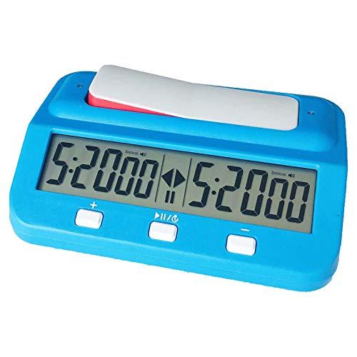JOELELI Temporizador digital de ajedrez, profesional LEAP, reloj digital de ajedrez de alta definición, temporizador electrónico portátil, medidor de hora de competición (azul)