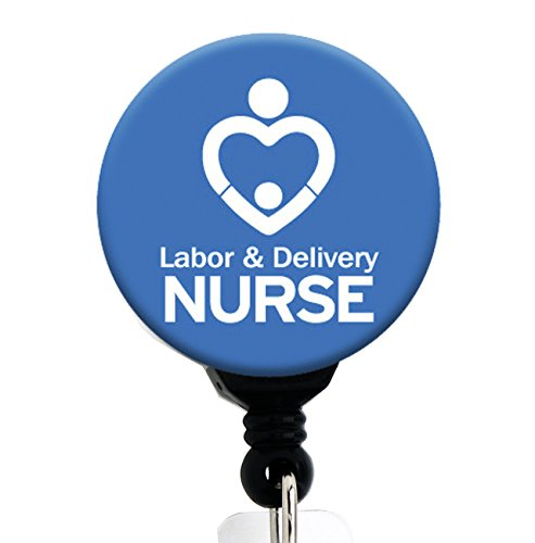 Labor & Delivery Nurse L&D Blue - Retractable Badge Reel with Swivel Clip and Extra-Long 34 inch Cord - Badge Holder