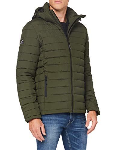 Superdry Hooded Fuji Jacket Chaqueta Acolchada, Caqui del ejército, S para Hombre