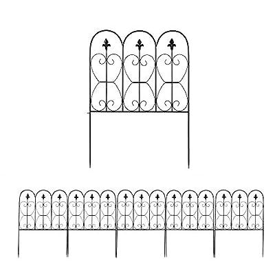 VINGLI 5PCS Decorative Garden Border Fence, 33inx10ft Outdoor Coated Metal Panel, Rustproof Landscape Folding Patio Barrier Section Edge Black,Pack of 5