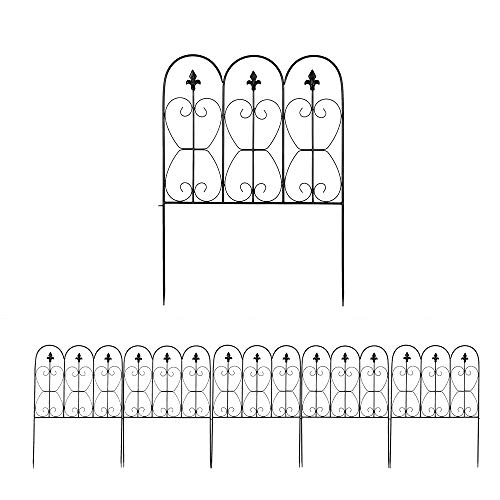 Decorative Garden Fence 5 Panels, 33inx10ft Rustproof Black Iron Fences Metal Wire Fencing Animal Dogs Barrier for Outdoor Patio Flower Bed Vegetable (24in x 33in x 5 Panels)