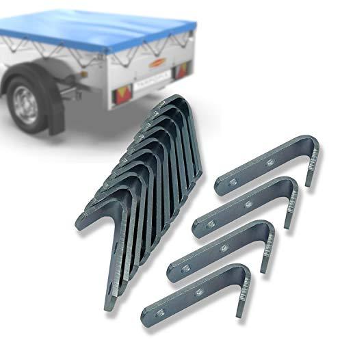 Tarpofix® Planenhaken Netzhaken 50x13x2,5mm für Anhänger Plane (20 Stk) - langlebige Abspannhaken aus verzinktem Stahl - robuste Befestigungshaken für PKW Anhänger Bordwand I Netz- & Planenbefestigung