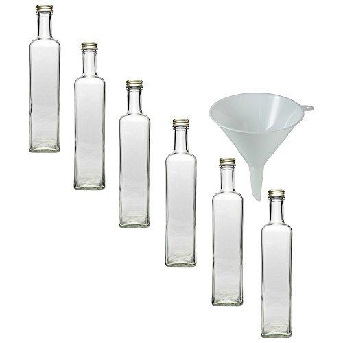 Viva Haushaltswaren - 6 x Glasflasche 500 ml mit Schraubverschluss, leere Flaschen zum Befüllen als Ölflasche, Schnapsflasche, Einmachflasche etc. verwendbar (inkl. Trichter Ø 9,5 cm)