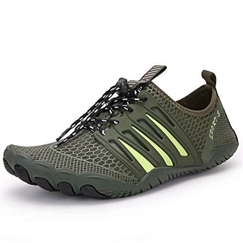 Zapatos de Agua para Hombre y Mujer Barefoot Secado Rápido Ligero Duradera Antideslizantes Zapatos Descalzos Escarpines Surf Buceo Vela Yoga Verde 46
