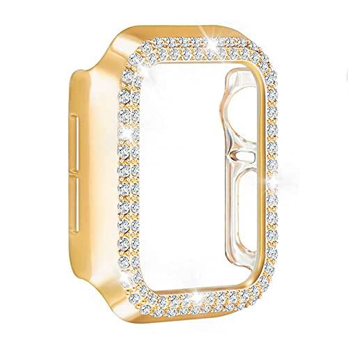 AISPORTS Compatible con Apple Watch Protector de pantalla de 44 mm, iWatch Series 6/5/4/SE para mujeres, HD Clear Hard PC Bling Crystal Diamond Bumper Funda protectora para Apple Watch Series 6/5/4/SE