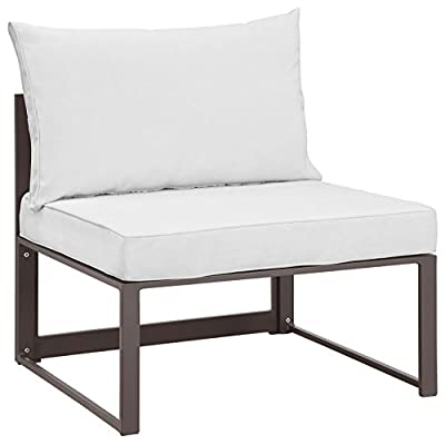 Modway Fortuna Aluminum Outdoor Patio Armless Chair in Brown White