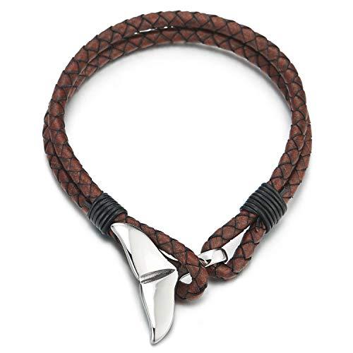 COOLSTEELANDBEYOND Zweireihige Braun Geflochtene Leder Armband, Herren Damen Armreif mit Edelstahl Wal Delfine Schwanz Hakenverschluss