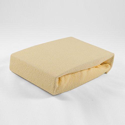 Kuscheliges Premium Spannbettlaken Frottee 60 x 120 cm atmungsaktiv, für Baby- und Kindermatratzen (gelb)