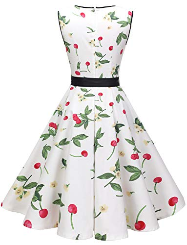 Cocktail Dresses for Women Vintage 1950s Retro Rockabilly Prom Wedding Dress White Small Cherry S
