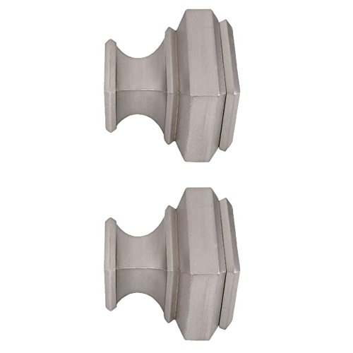 allen + roth Brushed Nickel Aluminum Curtain Rod Finials-2-Pack