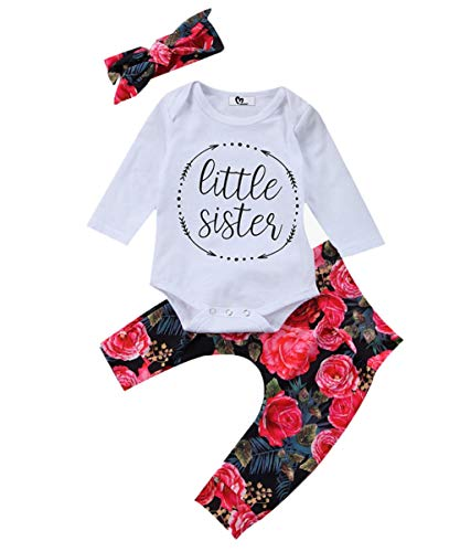 Baby Girls Little Sister Bodysuit Tops Floral Pants
