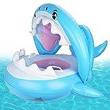 Jackallo Baby Float Schwimmbad Kleinkind Floaties mit Aufblasbaren Sonnenschirm Hai Baby Pool Ring für Kinder im Alter von 6-36 Monaten