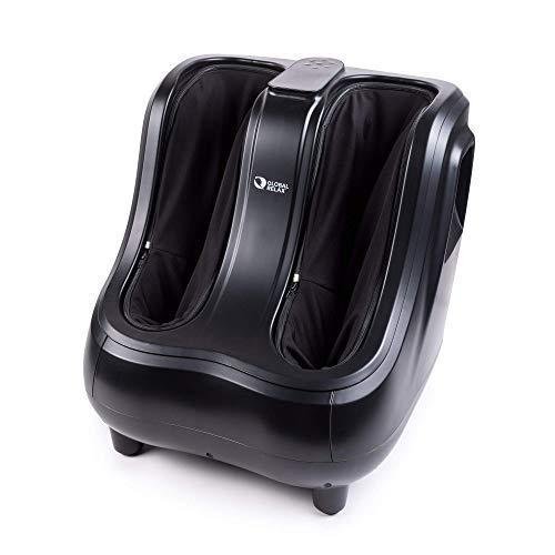 VITALZEN® PRO Masajeador de piernas - Negro (modelo 2021) - Masaje por amasamiento, presión- Reflexología podal, diseñado para aliviar el dolor y tensión muscular en pies, tobillos y gemelos