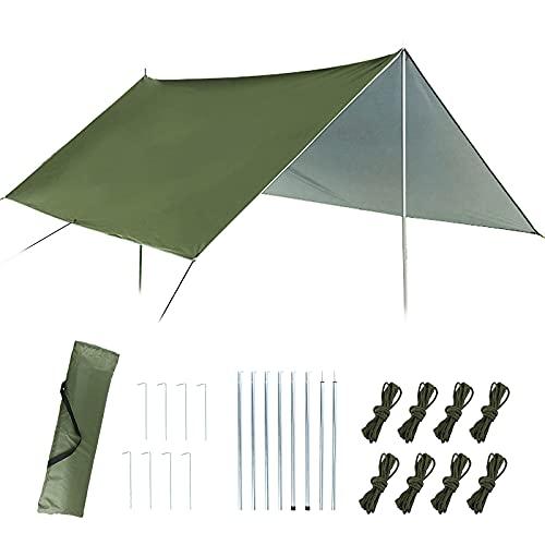 VINFUTUR Toldo Camping Kit, Toldo Exterior 3mx3m Tienda Campaña Carpa Impermeable Exterior Shelter Portable Sunshade para Viaje Playa Terraza Jardín Patio