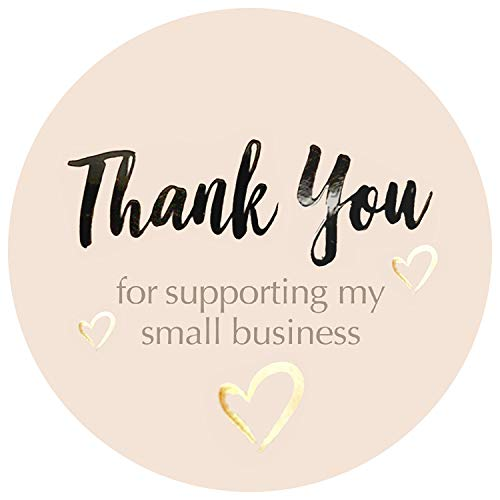 400 pcs Thank You Stickers Rolls , Size 1.5 Inch Round | Thank You Seal Stickers | Gold Foil Thank You Stickers Small Business Supplies | Pastel Peach Color with UV Effect.