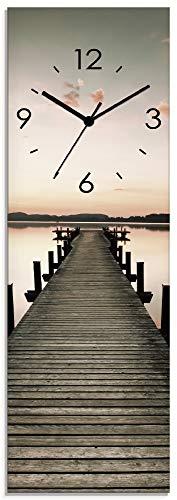 Artland Wanduhr ohne Tickgeräusche aus Glas Funkuhr 20x60 cm Rechteckig Lautlos Landschaft See Natur Pier Sonnenaufgang Himmel S7MG