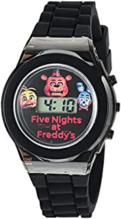 Five Nights at Freddy's Kids' Digital Watch with Black Case, Flashing LED Lights, Black Silicone Strap - FNaF Characters on the Dial, Safe for Children - Model: FNF3004